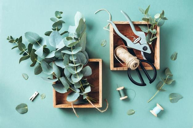 Branches et feuilles d'eucalyptus, sécateur de jardin, ciseaux, boîtes en bois