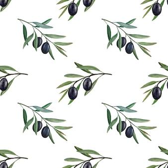 Branches d'olivier avec modèle sans couture aquarelle d'olives noires.