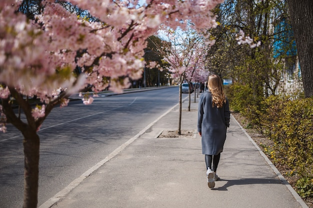 Branches de sakura avec des fleurs sur un arbre dans les rues de la ville. une femme heureuse dans une palette grise se promène le long d'une ruelle avec des sakura en fleurs. superbe fille fantaisie à l'extérieur. arbre de sakura en fleurs.