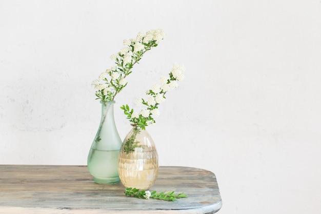 Branches de spirée dans des vases sur vintage de vieux mur