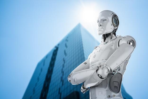 Bras de robot humanoïde de rendu 3d croisé en ville