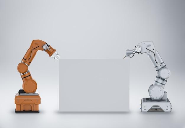 Bras de robot de rendu 3d avec tableau blanc blanc