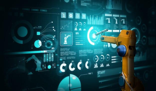 Bras robotique ai analysant les mathématiques pour la résolution de problèmes dans l'industrie mécanisée