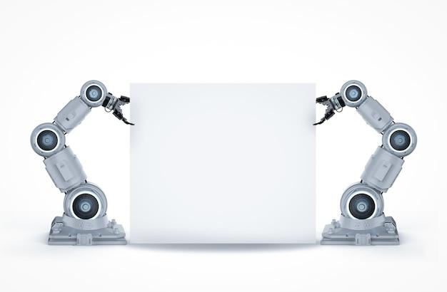 Bras robotique blanc de rendu 3d avec une note vierge sur fond blanc