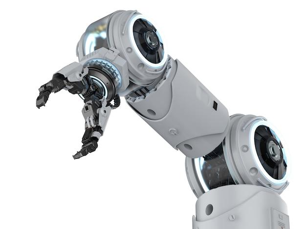 Bras robotique de rendu 3d blanc sur fond blanc