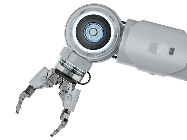Bras robotique de rendu 3d blanc isolé sur fond blanc