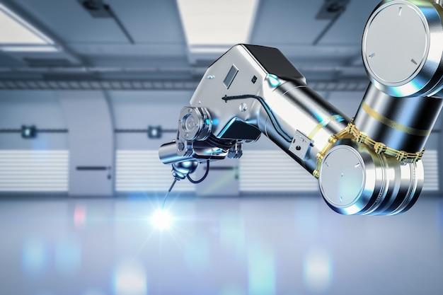 Bras robotique de soudage de rendu 3d avec flare en usine