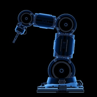 Bras robotique de soudeur à rayons x de rendu 3d isolé sur fond noir