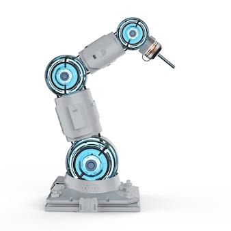 Bras robotique de soudeur de rendu 3d sur fond blanc