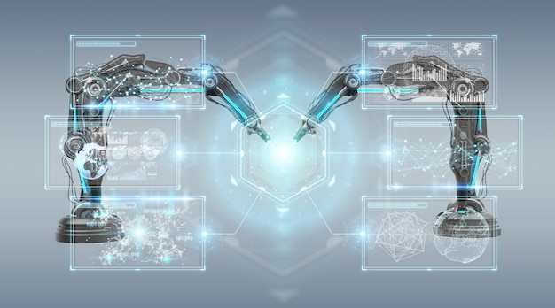 Bras robotiques avec rendu 3d d'écran numérique