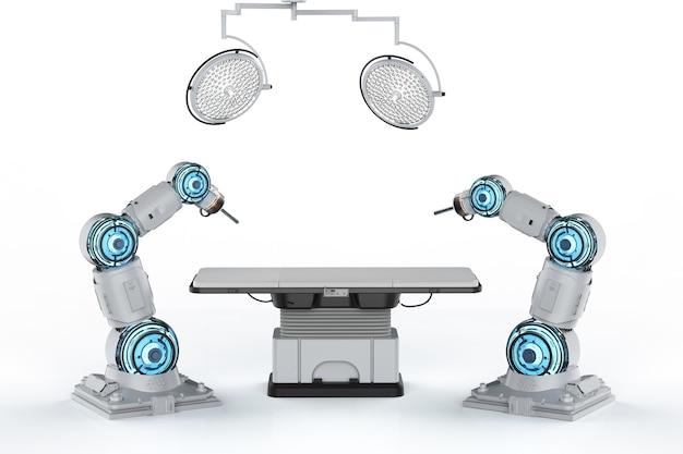 Bras robotisé de chirurgie de rendu 3d en salle d'opération