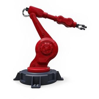 Bras rouge robotisé pour tout travail dans une usine ou une production. equipement mécatronique pour des tâches complexes. illustration 3d