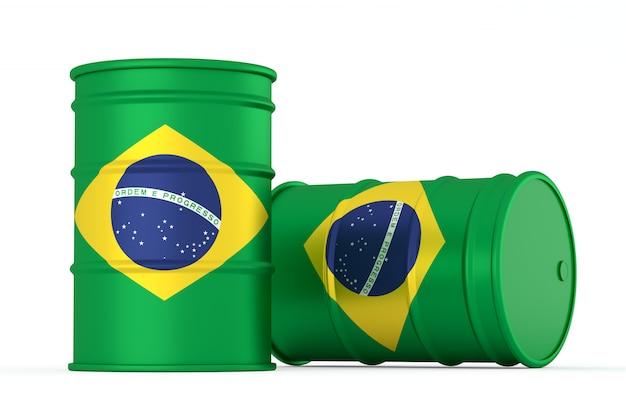 Brésil barils de drapeau de style pétrolier isolés
