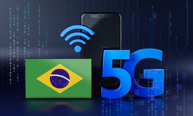 Le brésil est prêt pour le concept de connexion 5g. fond de technologie smartphone de rendu 3d