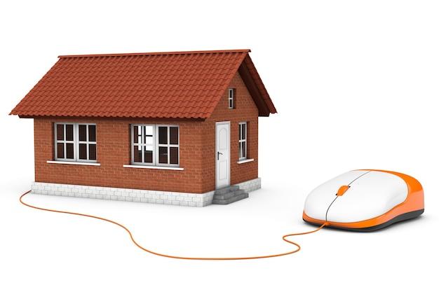 Brick house connecté à une souris d'ordinateur sur fond blanc