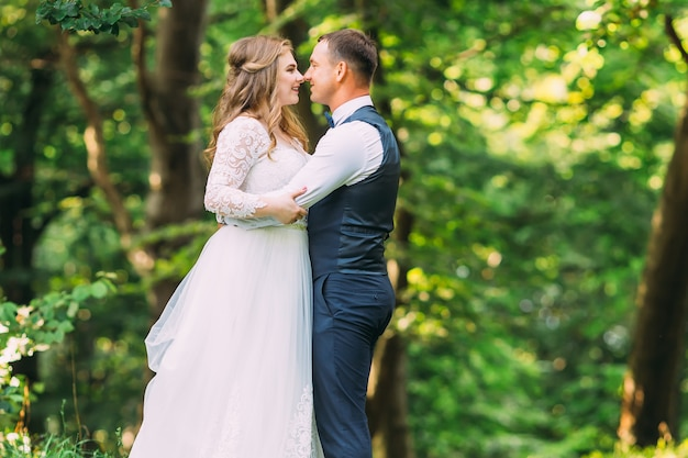 Bride and groom étreignant et se regardant dans le contexte des arbres