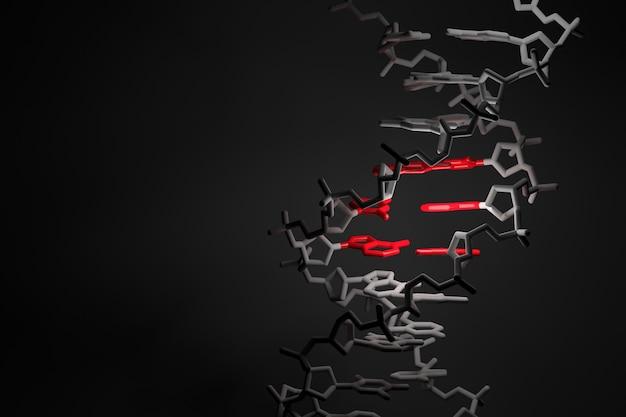 Brin d'adn avec région rouge en surbrillance