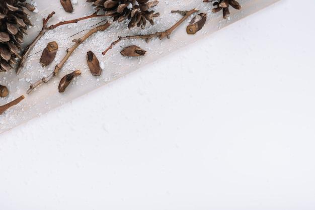 Brindilles sèches et chicots sur planche de bois