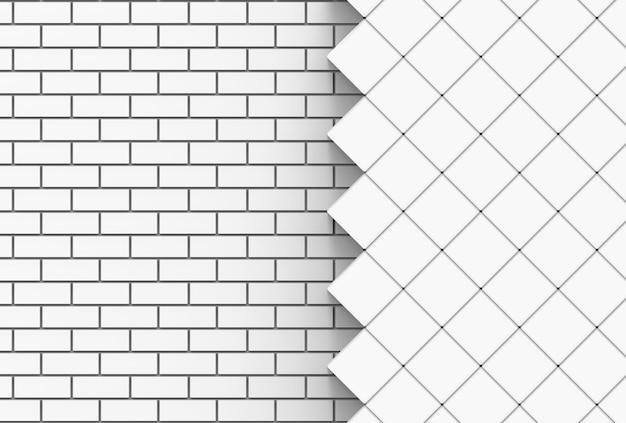 Briques blanches et fond de mur de grille carrée.