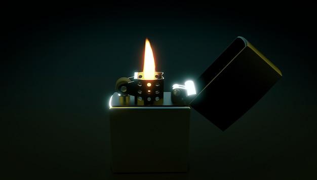 Briquet brûlant dans l'obscurité. rendu 3d