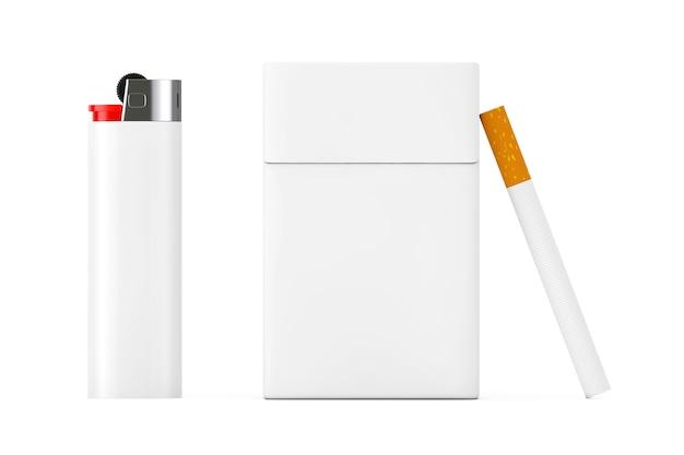 Briquet de poche blanc et cigarette près de la maquette du pack de cigarettes vierges sur fond blanc. rendu 3d