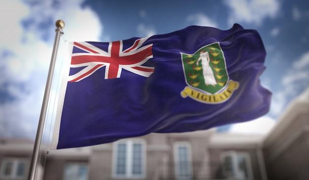 British virgin islands flag rendement 3d sur blue sky building background