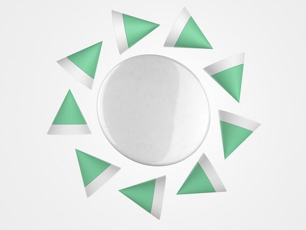 Broche abstraite de l'espace de copie 3d entouré de formes polygonales