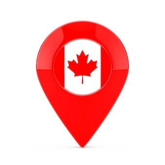 Broche de pointeur de carte avec le drapeau canadien sur un fond blanc. rendu 3d