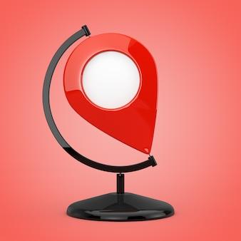 Broche de pointeur de carte en forme de globe terrestre sur fond rouge. rendu 3d