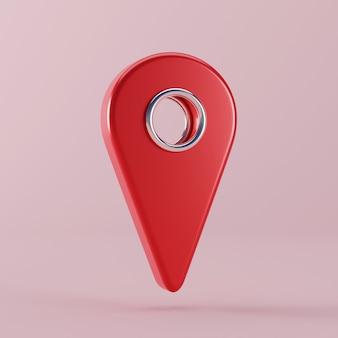 Broche de pointeur de carte rouge flottante. illustration de rendu 3d