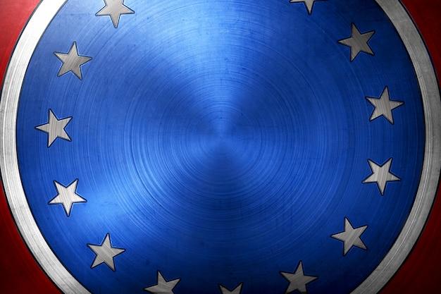 Broche ronde bleue avec des étoiles et des rayures noires