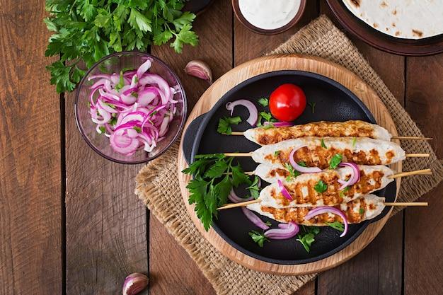Brochette de poulet aux légumes grillés