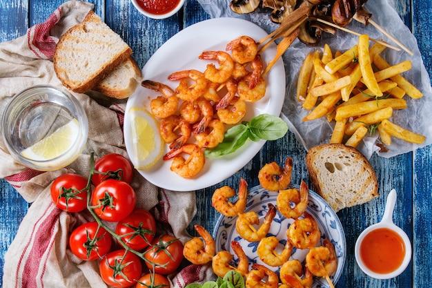 Brochettes de crevettes épicées bbq