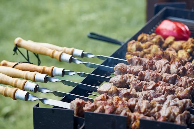 Brochettes de shashlik au barbecue avec ailettes et tomates au grill demi-fini sur la brochette, vue de côté