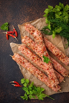 Brochettes de viande hachée lula kebab