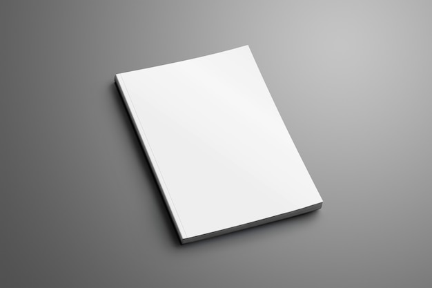 Brochure universelle a4, (a5) fermée vierge avec des ombres douces et réalistes isolées sur une surface grise.