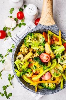 Brocoli frit, poivrons, maïs, courgettes et tomates dans une casserole sur un fond blanc.