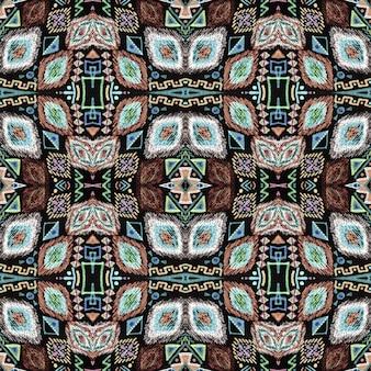 Broderie ethnique. motif aztèque sans couture.