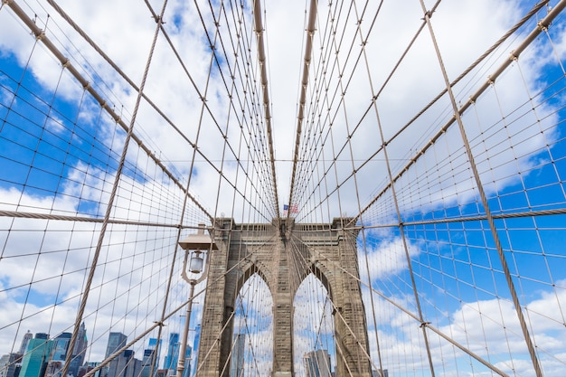 Brooklyn bridge, centre-ville de manhattan, paysage urbain new york usa