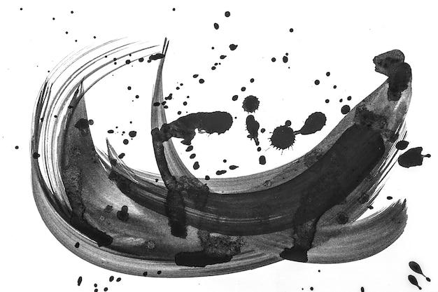 Brosse abstraite coup de peinture sur papier blanc