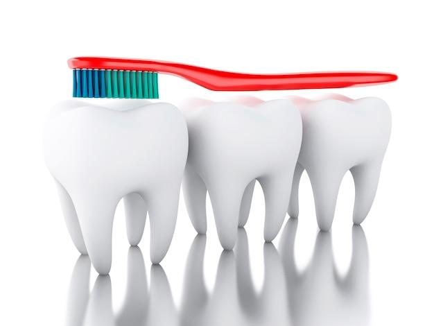 Brosse à dents 3d brossant une dent.