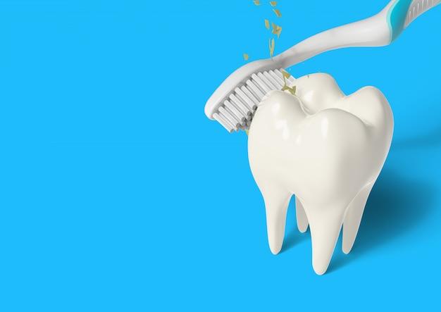 Brosse à dents de rendu 3d nettoyage des dents