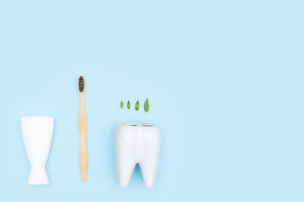 Brosses à dents en bois de bambou, feuilles vertes, porte-brosse à dents blanc en forme de dent concept de soins médicaux de santé dentaire à plat. copiez l'espace. produits écologiques