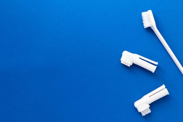 Brosses à dents pour chiens et chats sur bleu