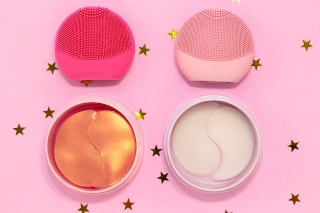 Brosses nettoyantes pour le visage en silicone avec brosse nettoyante pour le massage des soins de la peau, bandeau oculaire en hydrogel avec étoiles dorées