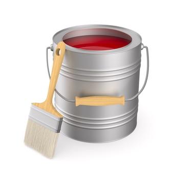 Brossez et pouvez avec la couleur sur l'espace blanc. illustration 3d isolée