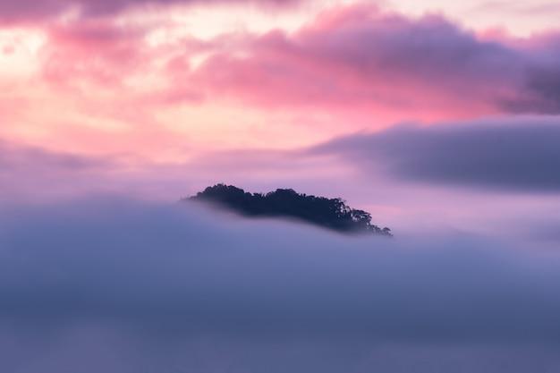Brouillard coloré sur la montagne