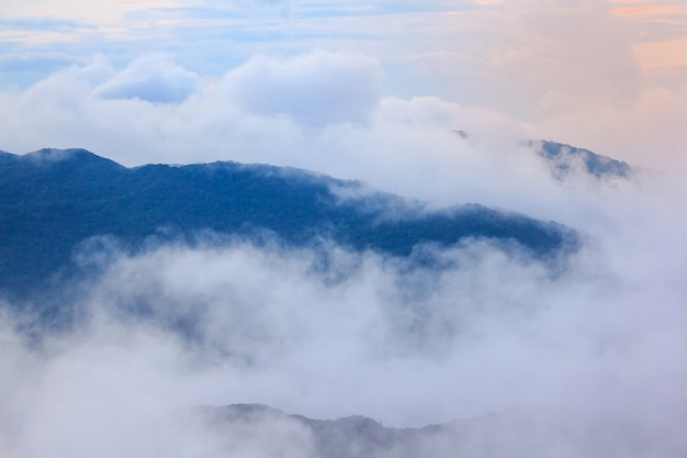 Le brouillard flotte au sommet des montagnes.