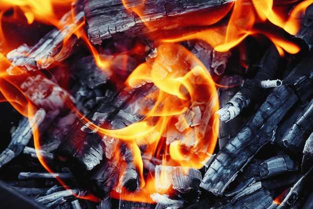 Brûler du bois dans un brasero. feu, flammes. grill ou barbecue