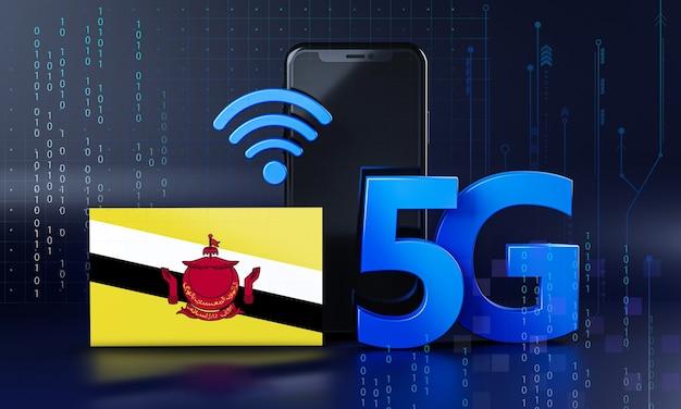 Brunei prêt pour le concept de connexion 5g. fond de technologie smartphone de rendu 3d